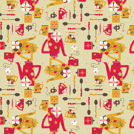 Retro Tea Party - © Lucinda Wei fabric by lucindawei on Spoonflower - custom fabric