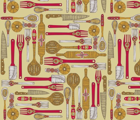 Retro cooking fabric by valentinaramos on Spoonflower - custom fabric