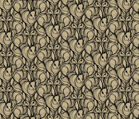 RABBIT RUN_Taupe fabric by pattern_state on Spoonflower - custom fabric