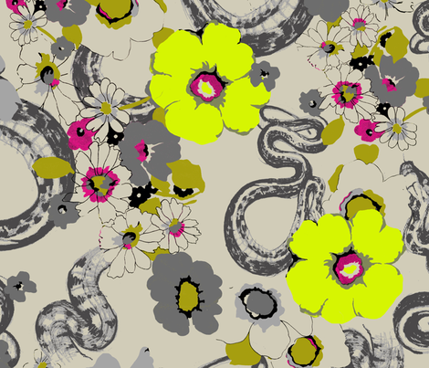 GARDEN SNAKE_ pop fabric by pattern_state on Spoonflower - custom fabric