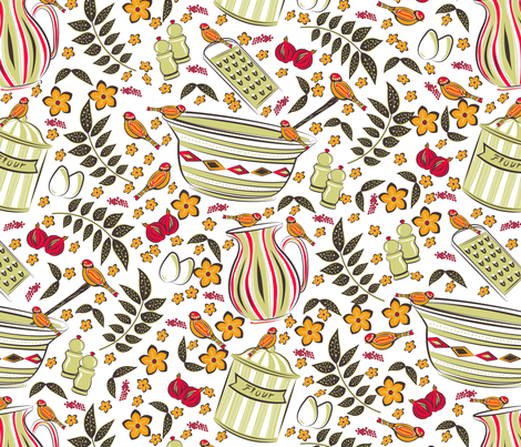 retro-kitchen2 fabric by lene_frid on Spoonflower - custom fabric