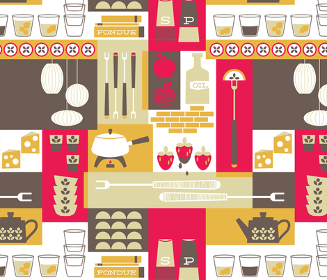 Retro Fondue Party fabric by kate_legge on Spoonflower - custom fabric