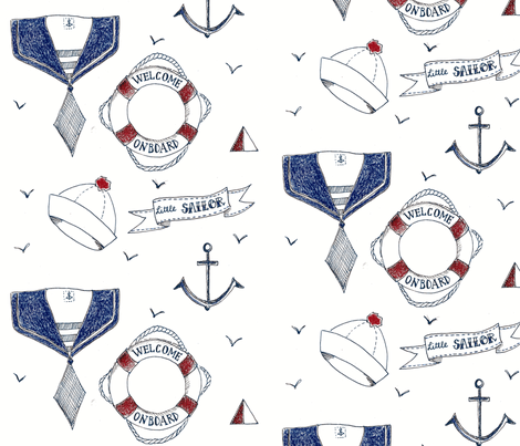little blue sailor fabric by studiodageraad on Spoonflower - custom fabric