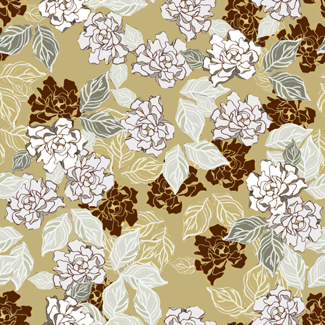 Retro Gardenia  fabric by joanmclemore on Spoonflower - custom fabric