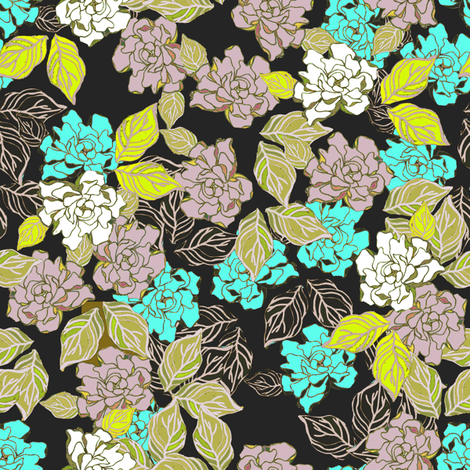 Retro gardenia tossed  fabric by joanmclemore on Spoonflower - custom fabric