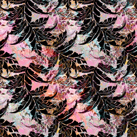 Tropical Black Leaves fabric by joanmclemore on Spoonflower - custom fabric