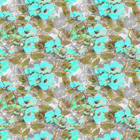 Rockabilly_Rose_blue_7 fabric by joanmclemore on Spoonflower - custom fabric