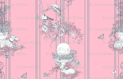 Pink and Gray Stripe Garden Toile Large ©2011 by Jane Walker