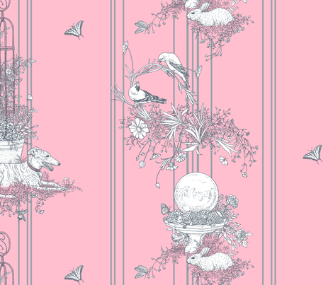 Pink and Gray Stripe Garden Toile Large ©2011 by Jane Walker fabric by artbyjanewalker on Spoonflower - custom fabric