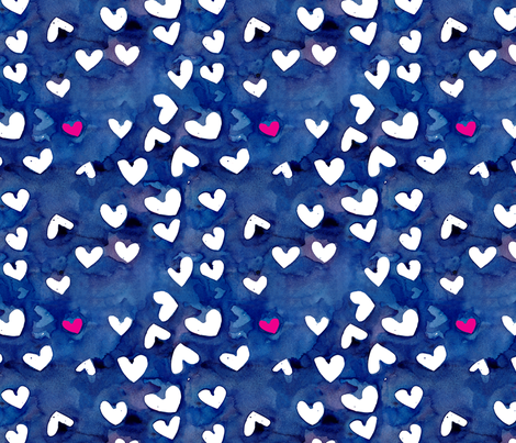 cestviv_one pink heart (new) fabric by cest_la_viv on Spoonflower - custom fabric