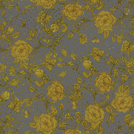 Memories of an Old Rose - cadet fabric by glimmericks on Spoonflower - custom fabric