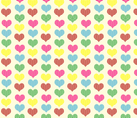 Wave Hearts fabric by anikabee on Spoonflower - custom fabric