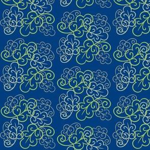 swirly leaves Blue green