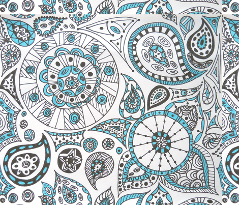 Aqua_and_Swirl fabric by cel123 on Spoonflower - custom fabric