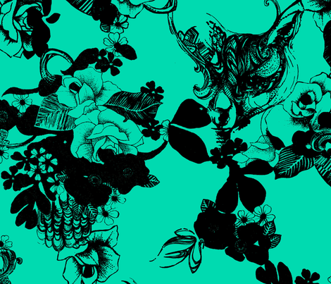 FOX_FLOWER_MINT fabric by pattern_state on Spoonflower - custom fabric