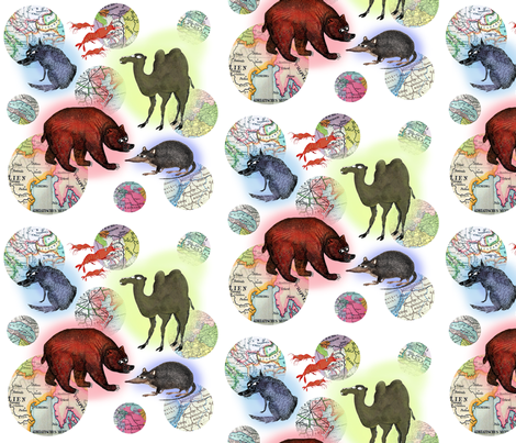 Globetrotting Bestiary fabric by supermoxie on Spoonflower - custom fabric