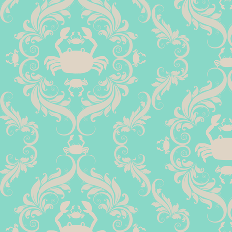 Damask Crab fabric by cksstudio80 on Spoonflower - custom fabric