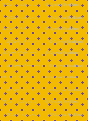 Purple Polka Dots on Gold