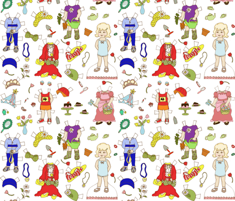Miss Ruby Paper Dolls fabric by holly_helgeson on Spoonflower - custom fabric