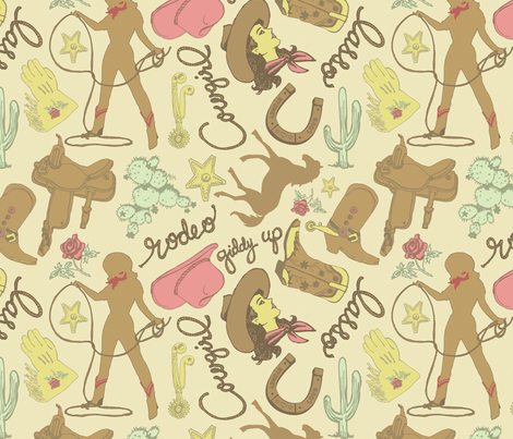 Cowgirl Fabric fabric by danab78 on Spoonflower - custom fabric