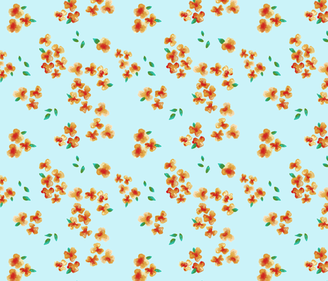 Flowers on Blue fabric by fig+fence on Spoonflower - custom fabric
