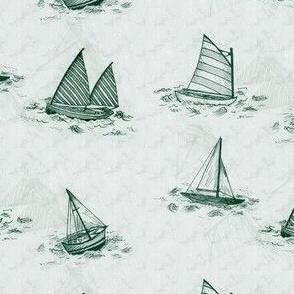 Antique Sailboats - Green
