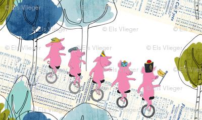 Unicycling piglets