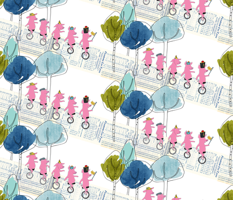 Unicycling piglets fabric by els_vlieger on Spoonflower - custom fabric