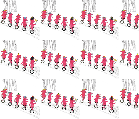 Unicycling piglets fabric by els_vlieger_illustrations on Spoonflower - custom fabric