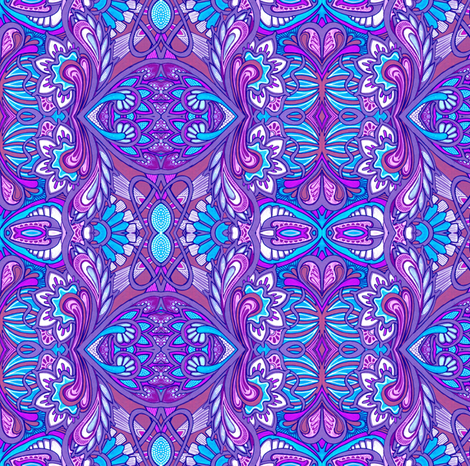 Swiss Miss vertical magenta and blue stripe fabric by edsel2084 on Spoonflower - custom fabric