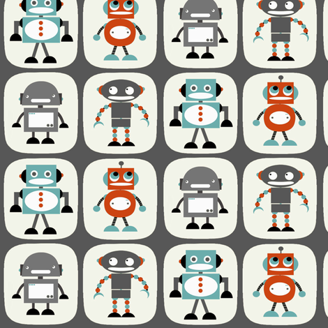 Robots in Grey fabric by natitys on Spoonflower - custom fabric