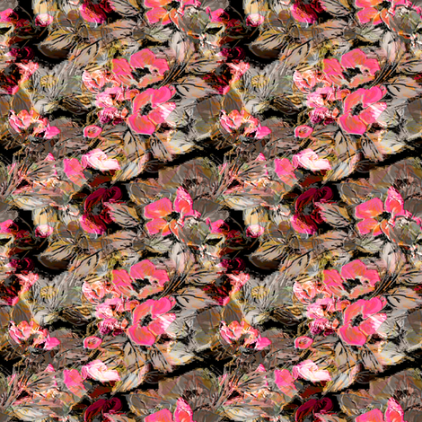 Rockabilly Rose Salmon with dark background fabric by joanmclemore on Spoonflower - custom fabric