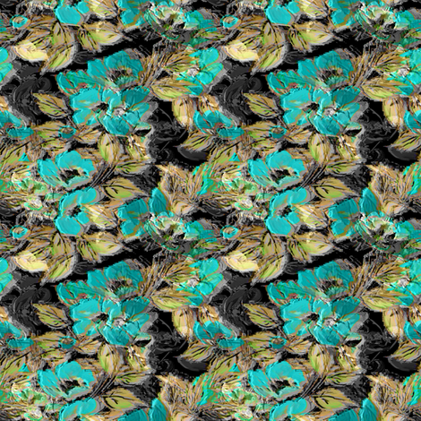 Rockabilly Rose dark background Turquoise fabric by joanmclemore on Spoonflower - custom fabric
