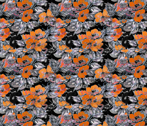 Rockabilly Rose Orange fabric by joanmclemore on Spoonflower - custom fabric