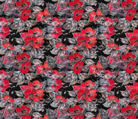 Rockabilly Rose Vermillion red fabric by joanmclemore on Spoonflower - custom fabric