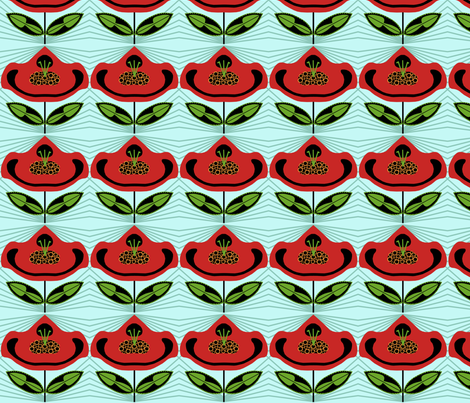 Red Flower Paper Dolls fabric by rubydoor on Spoonflower - custom fabric