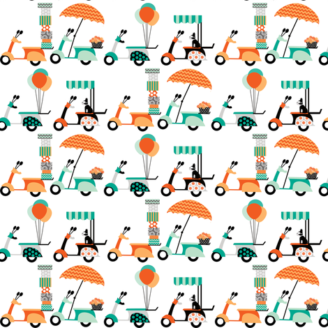 Loaded Vespas fabric by natitys on Spoonflower - custom fabric