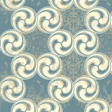 Vintage blue waves fabric by antuanetto on Spoonflower - custom fabric