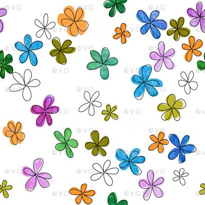 Mod watercolor floral