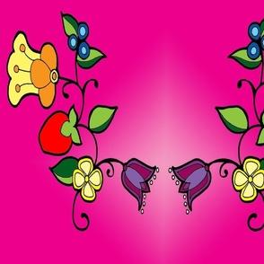 Ojbwe flowers in pink