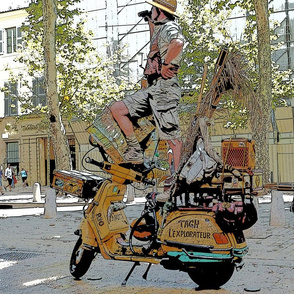 Motorcycle Performance Art in Aix-en-Provence, France