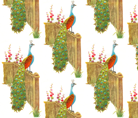 Vintage Peacock Embroidered fabric by vintage_visage on Spoonflower - custom fabric