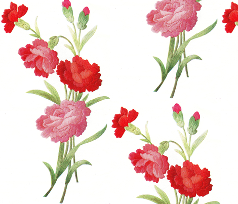 Vintage red carnations in thread fabric by vintage_visage on Spoonflower - custom fabric