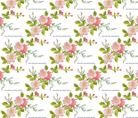 Wild Rose and Forget me not fabric by vintage_visage on Spoonflower - custom fabric