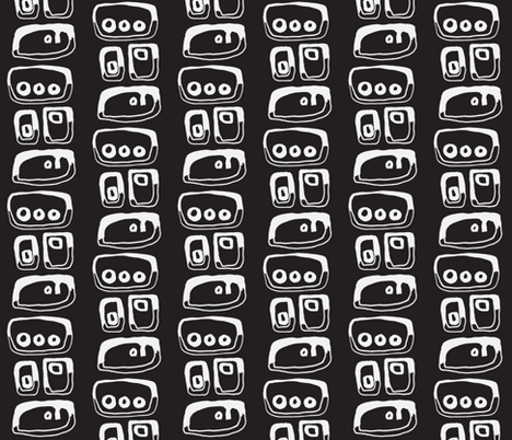 done and undone-gray on black fabric by kcs on Spoonflower - custom fabric