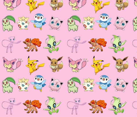 Pokemon_pink fabric by mörky_muffin on Spoonflower - custom fabric