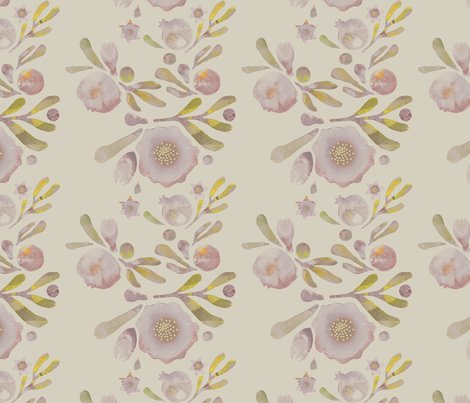 granada_floral_stone_stone_field fabric by bee&lotus on Spoonflower - custom fabric