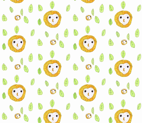 Hand Drawn Owls fabric by heartfullofbirds on Spoonflower - custom fabric