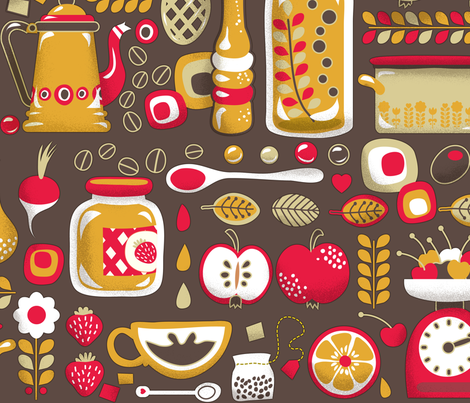 Mum's Kitchen Wallpaper fabric by irrimiri on Spoonflower - custom fabric