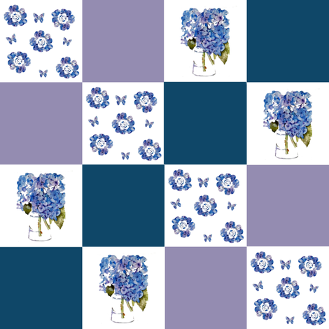 Hydrangeas Patchwork fabric by karenharveycox on Spoonflower - custom fabric